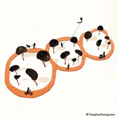 negative space illustrations - spot the pandas?