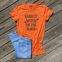 49ad5858 baddest witch on the block shirt, womens halloween shirt, halloween shirt  women, funny