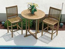 The Royal Teak Large Round Patio Bar Table is a simple and elegant bar table providing room for two or three to enjoy a nice evening outdoors. Patio Bar Table, Round Patio Table, Bar Table Sets, Bar Height Table, Teak Table, Bar Chairs, Bar Set, Ikea Chairs, Bar Tables