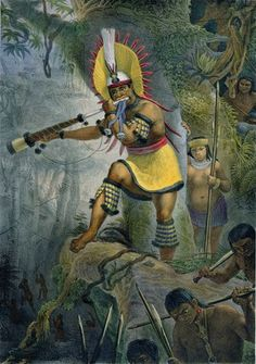 A Coroado Indian Giving The Signal For Attack by Jean Baptiste Debret (1768-1848, France)