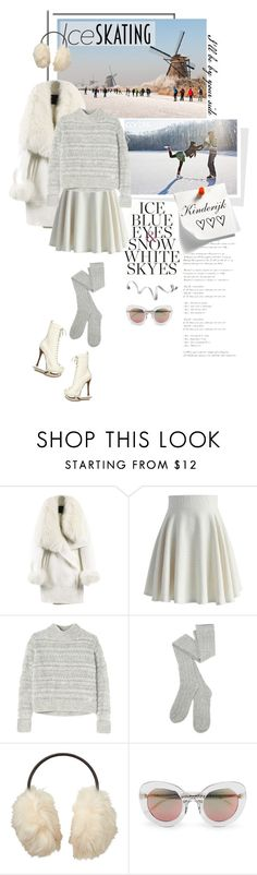 """""""Ice skating in Kinderijk"""" by pippi-loves-music ❤ liked on Polyvore featuring WithChic, Chicwish, Rebecca Taylor, Dsquared2, Uniqlo, Matthew Williamson and iceskatingstyle"""