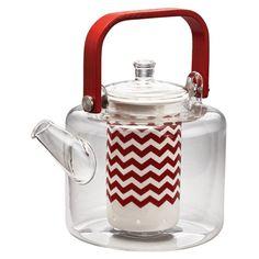 BonJour Teapots 42 oz. Reverie Rosehip Red Hand-Blown Glass Teapot - 46671