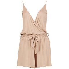 Jessica Cami Style Wrap Belt Jersey Playsuit ($2.61) ❤ liked on Polyvore featuring jumpsuits, rompers, pink jersey, pink romper, wrap romper, pink camisole and pink cami