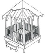 Twelve wood working plans, such gazebos plans with roof and railings, and  pavilions, and more. Good ideas for backyard DIY projects.