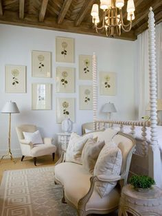 Neutral + classic + earthy.  Botanical  prints, rustic ceiling, and elegant 4-poster bed | Phoebe Howard Max & Co.