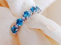 Blue Zircon Wedding Ring Eternity Band White by NorthCoastCottage
