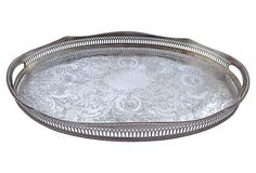"Vintage (1910-1950) Large English Silverplate Gallery Tray with Etched Filigree Pattern and Scalloped Edging.  Maker's Mark on Underside.  18.25""Lx12""Wx1.75""H  $185"