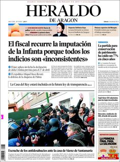 Los Titulares y Portadas de Noticias Destacadas Españolas del 6 de Abril de 2013 del Diario Heraldo de Aragon ¿Que le parecio esta Portada de este Diario Español?