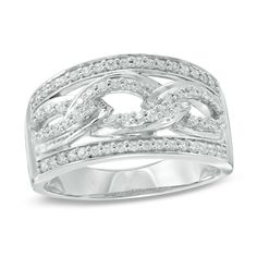 Zales 1/8 CT. T.w. Diamond Quilted Ring in Sterling Silver