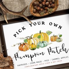 ★ PUMPKIN PATCH ★ festive, rustic sign with wonderful handwritten letters and watercolor pumpkins is sure to put you in the warm spirit of the fall season. Pull on your cozy sweater, grab your boots, smell the pumpkin pie baking in the oven...