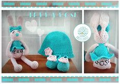 Crochet rabbit and hat with boots :)
