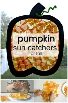 This pumpkin sun catcher fall craft is great for all ages. Work on flexing those fingers with some fine motor practice during this fun fall pumpkin craft! Perfect fall activity for a preschool pumpkin theme Toddlers And Preschoolers, Fall Crafts For Toddlers, Kids Crafts, Harvest Crafts For Kids, Craft Kids, Fall Preschool Activities, Preschool Art Projects, Toddler Preschool, Harvest Activities