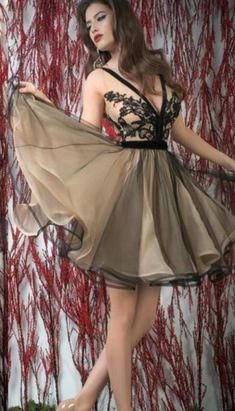 Black With Champagne Tulle Short Prom Party  #Short Homecoming Dress #HomecomingDresses #Short PromDresses #Short CocktailDresses #HomecomingDresses