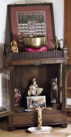 Altars:  Devotional Altar. shrine singing bowl  ganesh  hindu