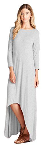 Tabeez Womens Solid 34 Sleeve High Low Jersey Maxi Dress Extra Large Heather Grey * Learn more by visiting the image link.