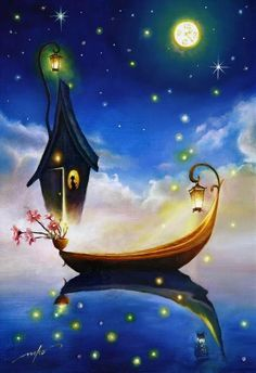 "I♥•✿ڿڰۣ ""Sailing By The Moonlight Past The Stars Shining Bright, Between Midnight And Sunrise Under The Moon's Golden Light.. Beyond Skies That Are Blue To ""Where-All -Dreams -Come -True,"" To Plant Wishes And Flowers Tonight.""~ C.C.Crystal ~ "" •♥•✿ڿڰۣ"