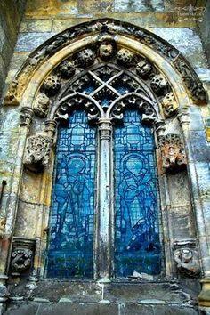 Roslin Chapel, Scotland, window...photo by Tammy Filighes.