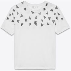 871f055795887 Distressed Short Sleeve T-Shirt in Ivory and Black Triangle Printed Cotton  Jersey