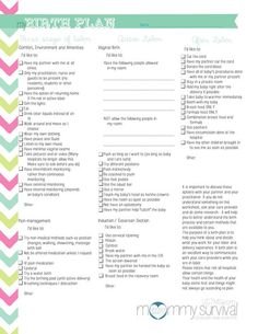 Free Birth Plan Printables - Mommy Survival: