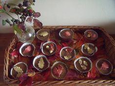 Toffee apple fairy cakes with autumn leaves