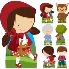 Kit 7 Totem Display Chapeuzinho Vermelho Decora Aniversário - R$ 69,90 Le Gui, Red Riding Hood Party, Little Red Ridding Hood, Puppets For Kids, Animal Crossing Game, Baby Art, Felt Animals, Baby Quilts, Paper Dolls