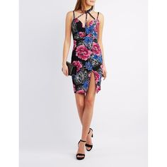 Charlotte Russe Floral Caged Mock Neck Bodycon Dress ($14) ❤ liked on Polyvore featuring dresses, black combo, floral bodycon dress, floral print midi dress, midi party dresses, cut out dresses and floral midi dress