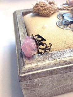 Pink Ice Ring  Druzy Ring  Crystal  Wedding Jewelry  by Barysto