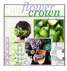 """DIY Flower Crown || Mya"" by city-girls-tips ❤ liked on Polyvore featuring beauty, NLXL, TippiesbyMya, SummertipsbyMya, HowtobyMya and myacitytips"