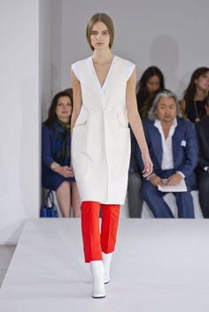 Cream waistcoat and red trousers. Jil Sander Spring 2013
