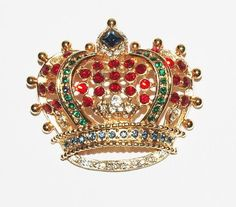 Kenneth Jay Lane Crown Pin with Colored Stones  by MardiGrasShoppe