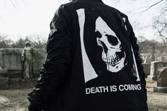 DEATH IS COMING BOMBER JACKET BLACK