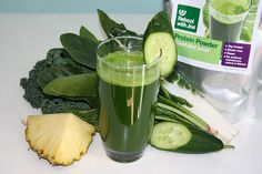 Green Protein Packed Juice Ingredients: 8 kale (Tuscan cabbage) leaves 150 g/2 – 3 large handfuls spinach (2-3 large handfuls) 2 swiss chard (silverbeet) leaves and stems 1 cucumber 1/4 pineapple