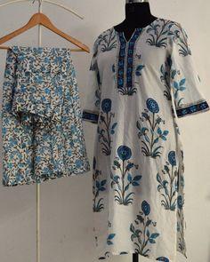 00d0209012 Indian Hand Block Printed Cotton Sanganeri Palazzo Pants and Kurta Tunic  with pure cotton fabric