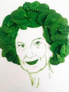 From a series of author portraits made with food, by Christian Kjelstrup. The materials used to compose the portrait reflect something about the author: Margaret Atwood, as 'Margaret Spinatwood – known for her green outlook, remade in spinach'.