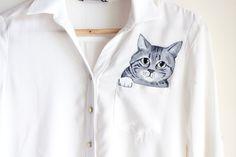 Custom pet portrait in a pocket of shirt women by Dariacreative, $50.00