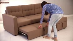 Fabric Sofa Cum Bed: Furnish your living room or guest room with sofa cum beds online and save space in style. They are the versatile furniture units which c. Sofa Cumbed Design, Living Room Sofa Design, Bedroom Bed Design, Sofa Come Bed Furniture, Sofa Bed For Small Spaces, Wooden Sofa Set Designs, Living Tv, Small Living, Sofa Bed With Storage