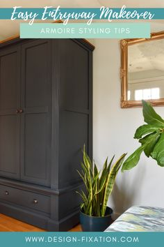 Our Entryway Makeover – An Armoire For The Win! /// By Design Fixation #entryway #makeover #mudroom #refresh Rental Home Decor, Rental Decorating, Easy Home Decor, Interior Decorating, Beautiful Interior Design, Beautiful Interiors, Backyard Toys, Home Look, Mudroom