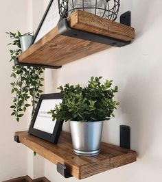 Rustic shelves hand crafted using reclaimed timber and industrial steel metal brackets depth x thickness / Farmhouse Vintage UK Rustic Wooden Shelves, Timber Shelves, Oak Shelves, Industrial Shelving, Shelving Brackets, Industrial Floating Shelves, Walnut Shelves, Diy Wood Shelves, Wood Shelf With Brackets