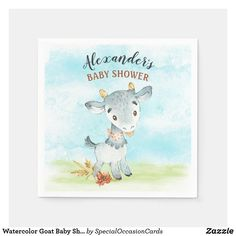 Watercolor Goat Baby Shower Farm Napkins Baby Shower Napkins, Special Text, Farm Boys, Baby Goats, Ecru Color, Watercolor Background, Baby Boy Shower, Keep It Cleaner, Baby Animals