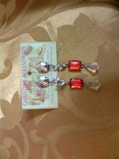 Biju- brinco vermelho/prata médio