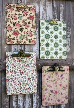 Vintage-Inspired Clipboards Clipboards Decoupage medium (Mod Podge Matte works well) Sponge brush Scissors Sanding sponge Vintage jewelry pieces or buttons Vintage wallpaper, scrapbook paper, or wrapping paper Ink for aging the edges Diy Projects To Try, Crafts To Make, Fun Crafts, Craft Projects, Arts And Crafts, Mod Podge Crafts, Mod Podge Ideas, Craft Ideas, Pallet Projects
