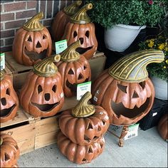 Stacked on wood-crate bleachers, these Terracotta Halloween Pumpkins earn more…
