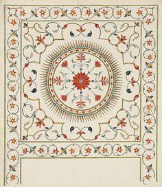 A COMPANY SCHOOL PIETRA DURA STUDY FROM THE TAJ MAHAL | NORTH INDIA, EARLY 19TH CENTURY | Paintings, body colour / gouache | Christie's