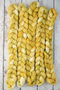 Lemongrass - Hand dyed Superfine Merino / Silk combed top. Good for spinning yarn, felting, blending & weaving.