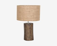 Scandinavian Designs - The finishing touch for natural, rustic spaces is the Mahogany log wood table lamp. It's a simple and unique design, crafted with a real mahogany log base and a natural heavy jute shade to beautifully diffuse the light.