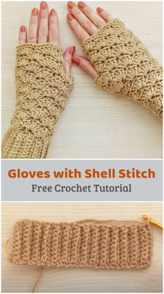 We are going to learn How to Crochet Fingerless Gloves with Shell Stitch. This design is great to keep your hands and wrists warm while still being able to operate your phone, or turn pages in a book. Great for a quick handmade gift for family or friends, especially for Valentine's Day, although hearts are optional, so they can be used anytime! Easy Crochet Hat, All Free Crochet, Crochet Mittens, Learn To Crochet, Crochet Crafts, Crochet Projects, Crochet Things, Wrist Warmers, Knitting Videos