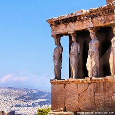 Famous ancient Porch of the Caryatids overlooking Athens, Greece.