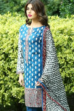 Product code: SUT-0583-LD 03 PIECE SUIT UNSTITCHED FULLY EMBROIDERED FRONT AND SLEEVES ON PRINTED LAWN WITH PRINTED CHIFFON DUPATTA Shop Online www.nimsay.pk