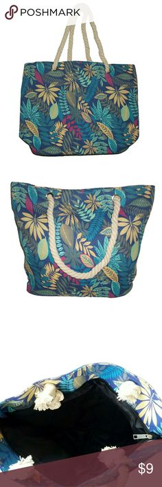 """Canvas Flower Tote Canvas Tote  Blue Floral Design. Zipper Top Closure. Rope Handles.  Inside One Small Zip Pocket  L: 19"""" x H: 14"""" x W: 4""""  Wipe Clean  Brand New Unbranded Bags Totes"""