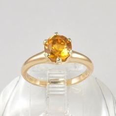 Antique 14k Gold Antique Engagement Ring with Yellow / Orange Citrine